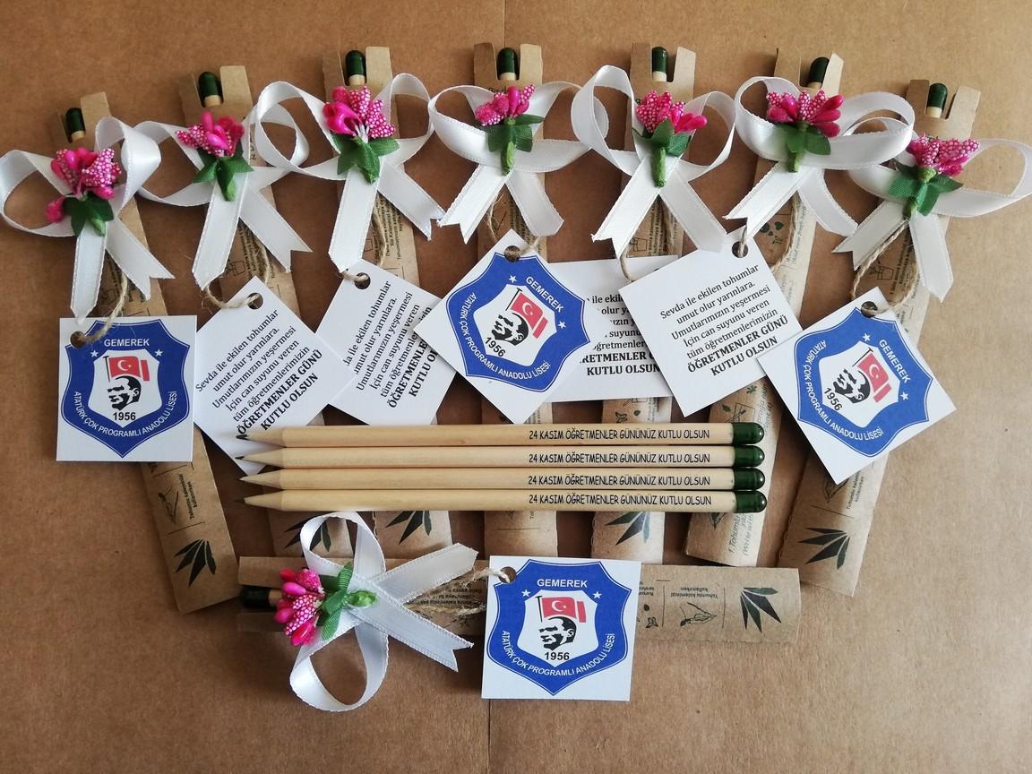 24 Kasım Öğretmenler Günü Hediyesi Çiçek Açan Tohumlu Kalem Tohumlu Sevgi Kalemi 05417985133